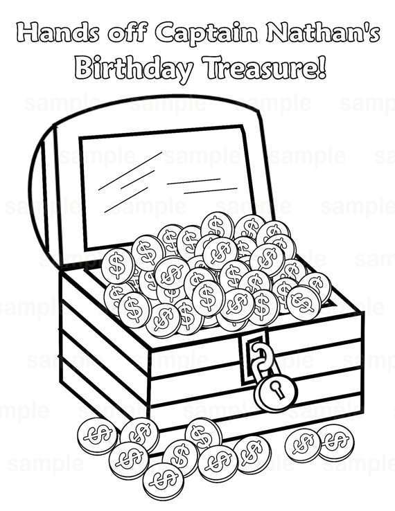 570x738 Pirate Treasure Chest Coloring Pages