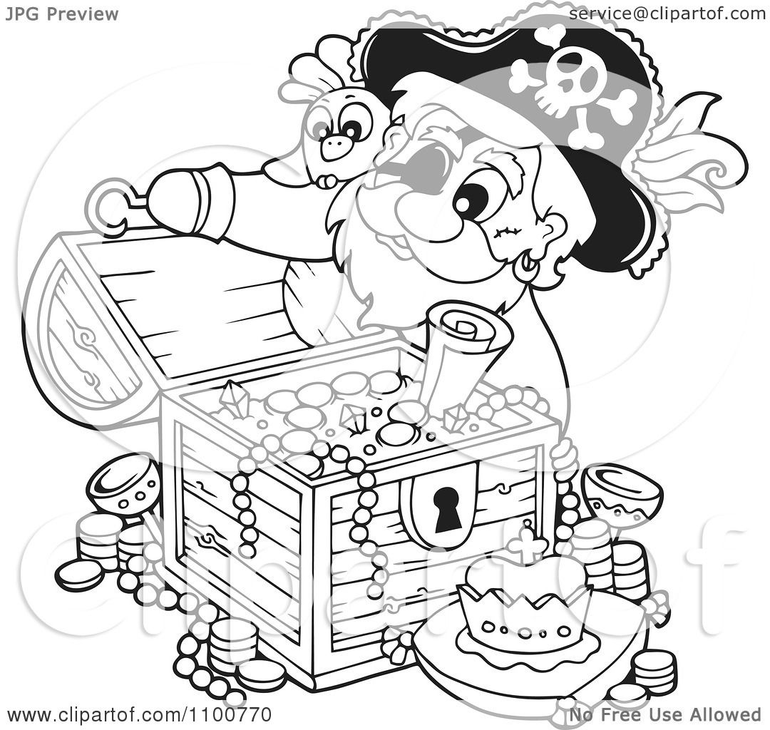 1080x1024 Clipart Outlined Pirate Inspecting A Treasure Chest Full Of Booty