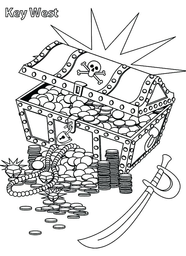 pirate treasure chest coloring page - pirate treasure chest drawing at free