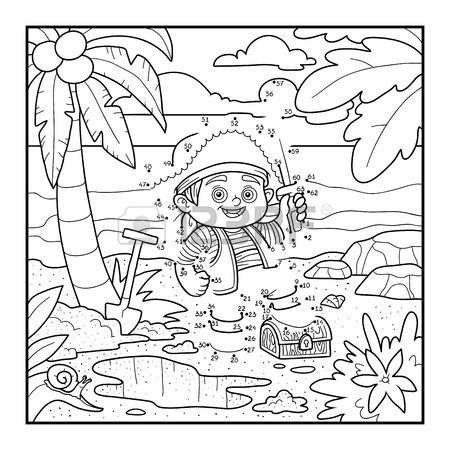 450x450 Coloring Book For Children. Piratend Treasure Chest On