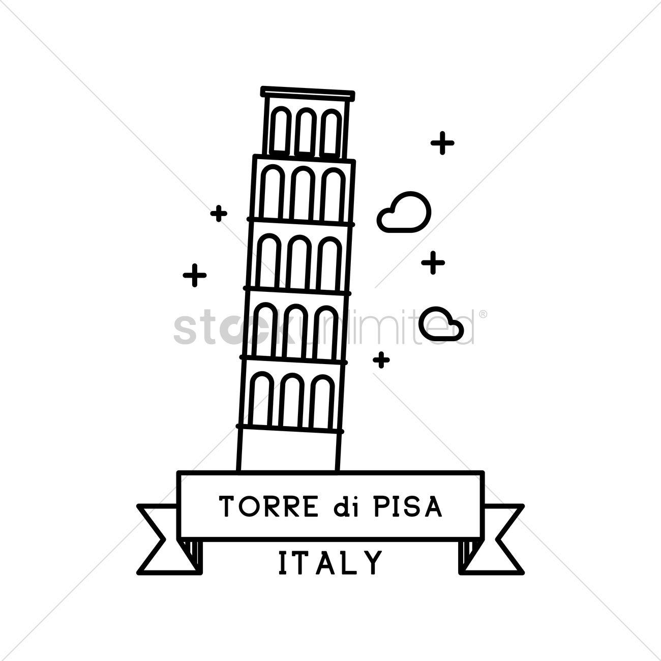 1300x1300 Torre Di Pisa Vector Image