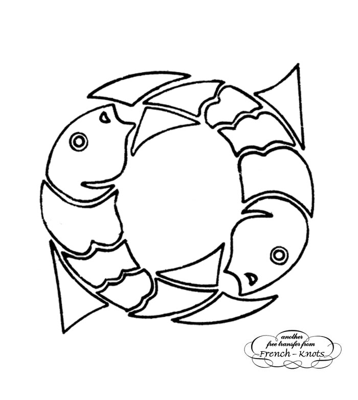 700x782 Pisces Fish Hand Embroidery Transfer Pattern