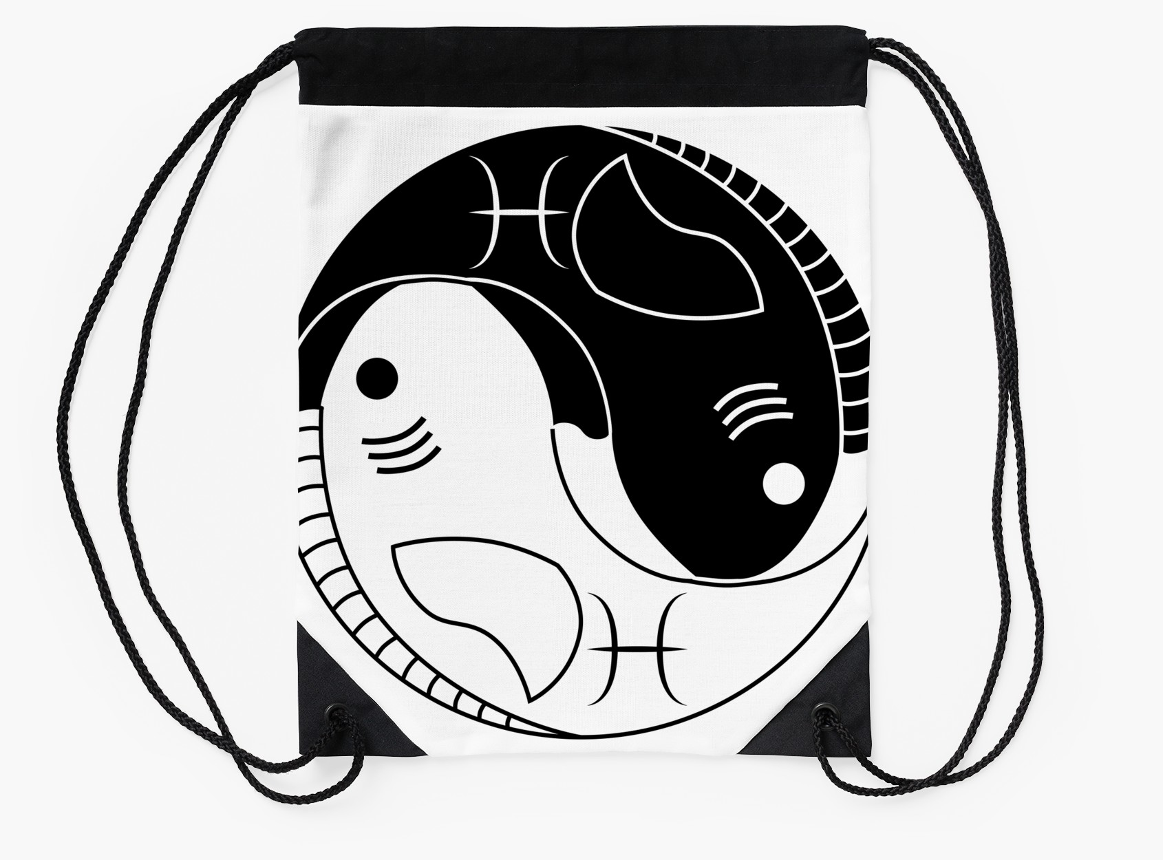 1690x1250 Yin Yang Pisces Fish Drawstring Bags By Lucid Reality Redbubble