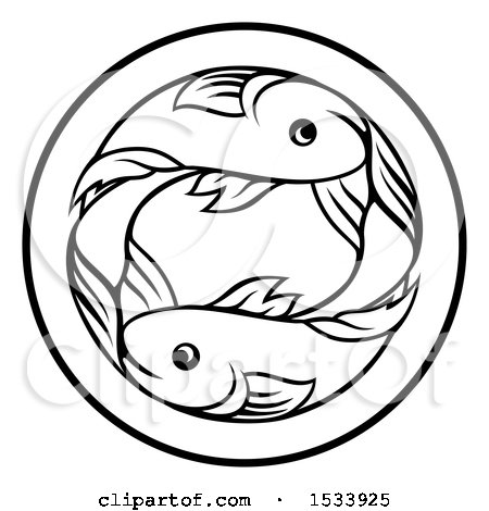 450x470 Clipart Of A Zodiac Horoscope Astrology Pisces Fish Circle Design
