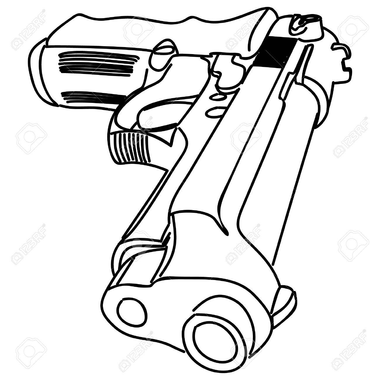 1300x1300 Pistol, Illustration Royalty Free Cliparts, Vectors, And Stock