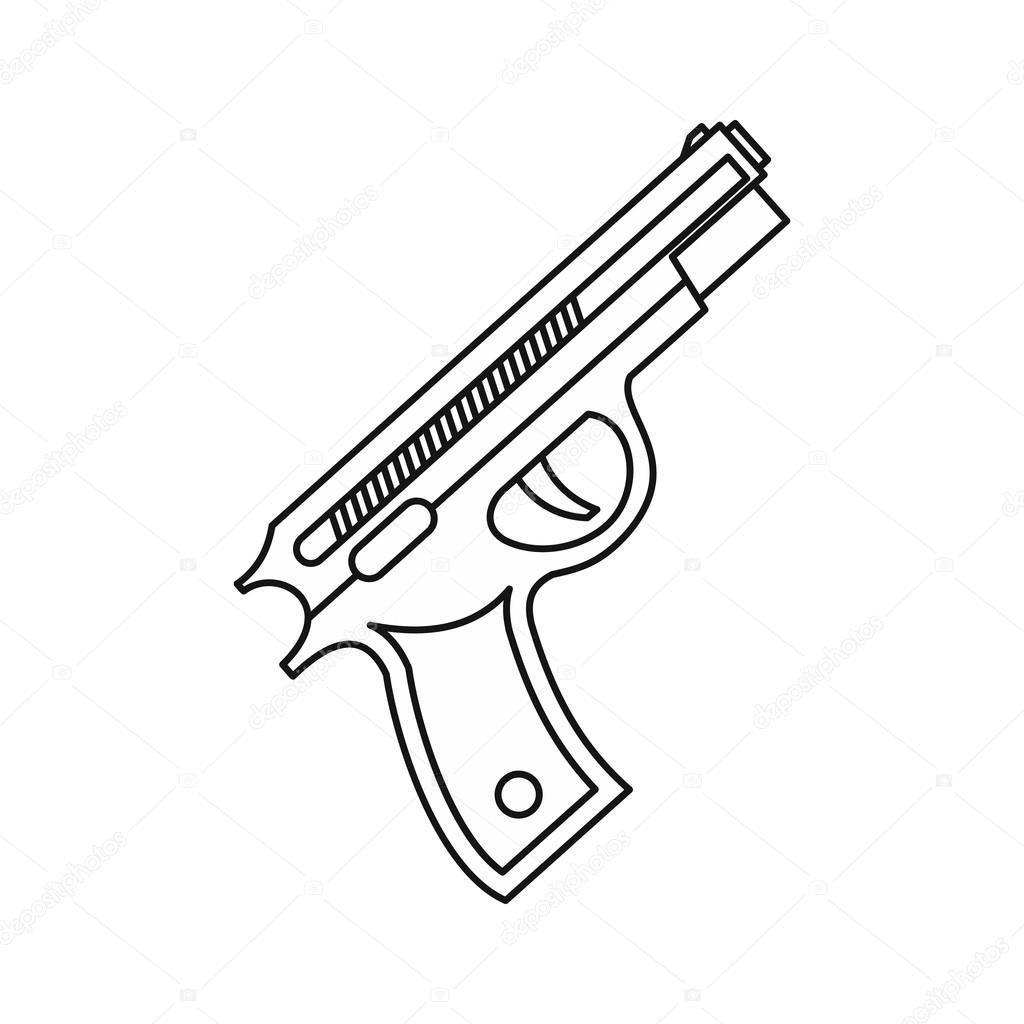 1024x1024 Pistol Gun Icon, Outline Style Stock Vector Ylivdesign