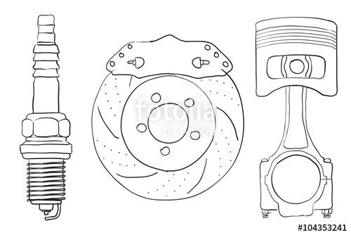 500x334 Brake Disc, Piston Spark Plug. Sketch. Stock Image