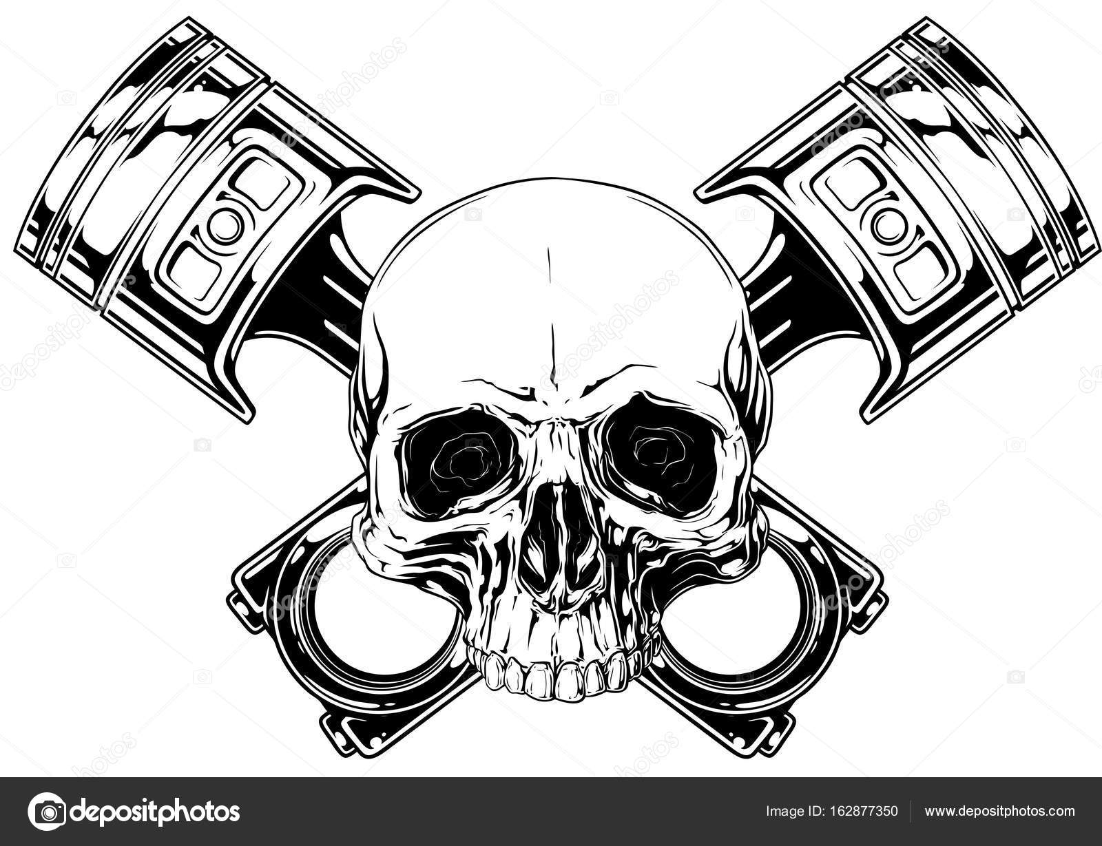 1600x1229 Graphic Human Skull With Crossed Car Piston Vector Stock Vector