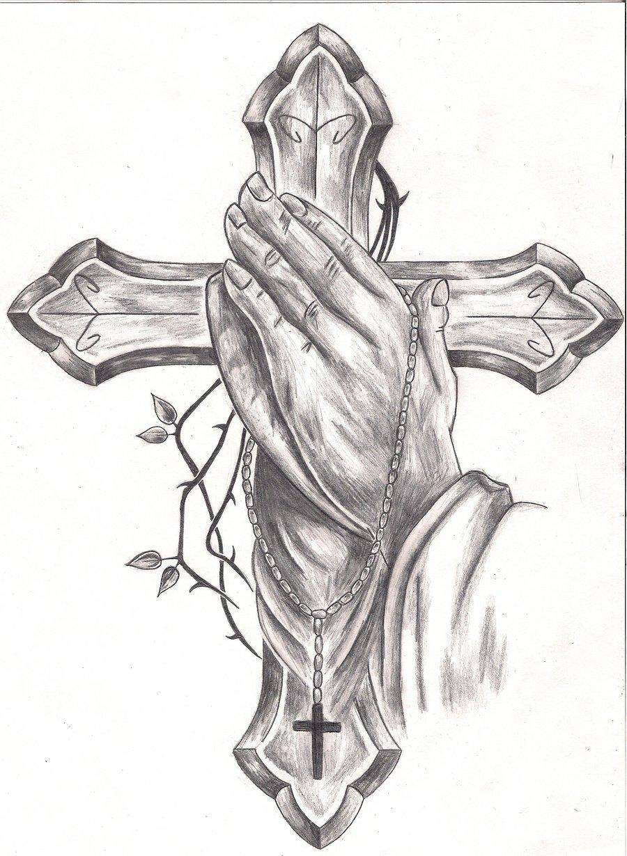 900x1230 Memorial Praying Hands Tattoo Sketch Photo