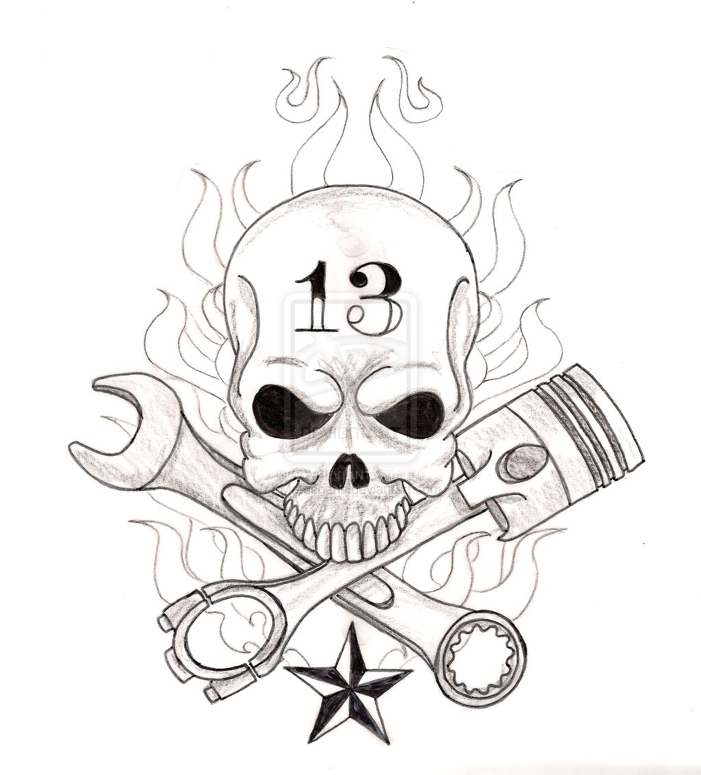 1024x1132 Skull With Crossed Wrench And Piston Tattoo By ~metacharis