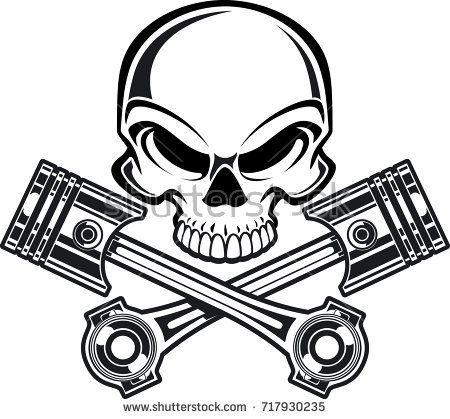 450x419 Skull With Crossing Engine Pistons Tattoo Engine