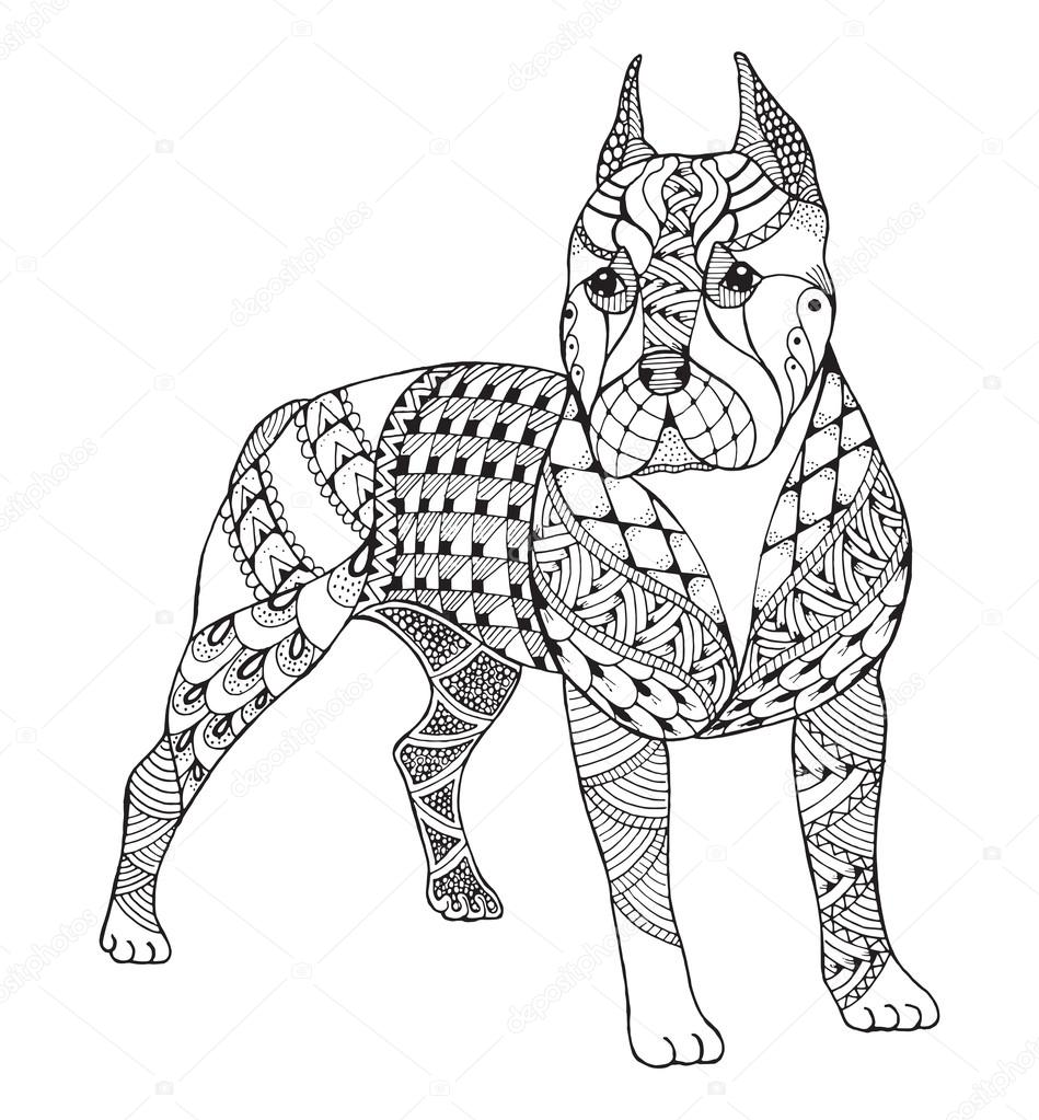 949x1023 American Pit Bull Terrier Stock Vectors Royalty Free