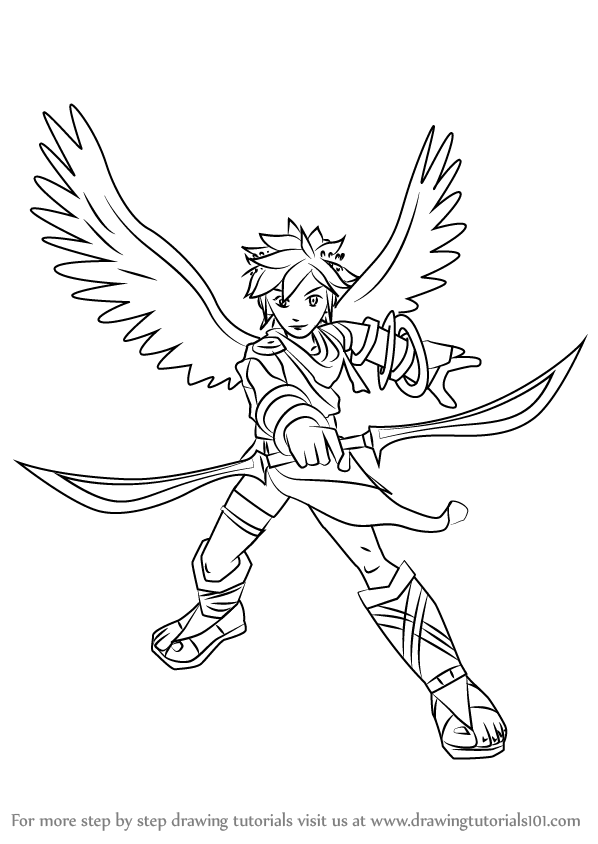 Line Drawing Pics 4 598x844 Learn How To Draw Pit From Super Smash Bros