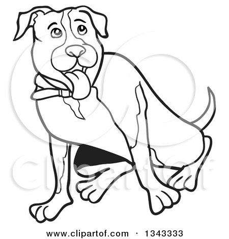 450x470 Lineart Clipart Of A Cartoon Black And White Pitbull Dog Sitting