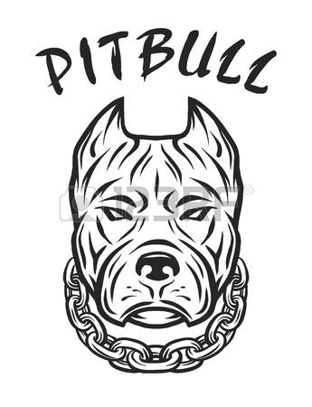 345x450 Vector Sketch Hand Drawing Illustration Pitbull Barking Royalty