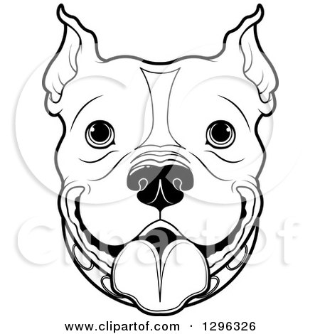 450x470 Clipart Of A Black And White Happy Pitbull Dog Face