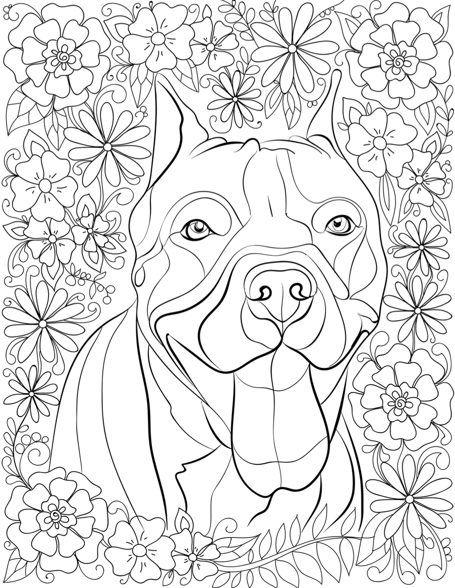 938x1212 De Stress With Pit Bulls Downloadable 10 Page Coloring Book
