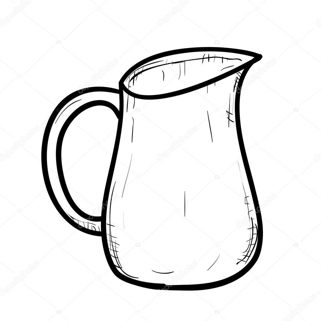 1024x1024 Outline Sketch Of Doodle Jug Stock Vector Beatwalk