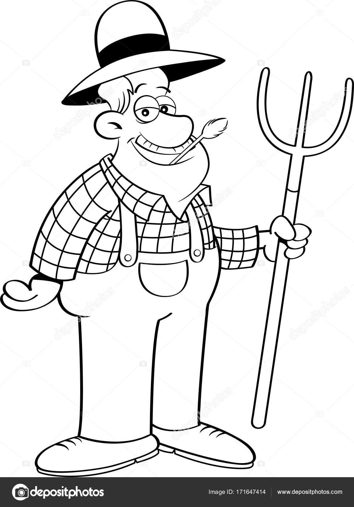 1187x1700 Cartoon Farmer Holding A Pitchfork. Stock Vector Kenbenner
