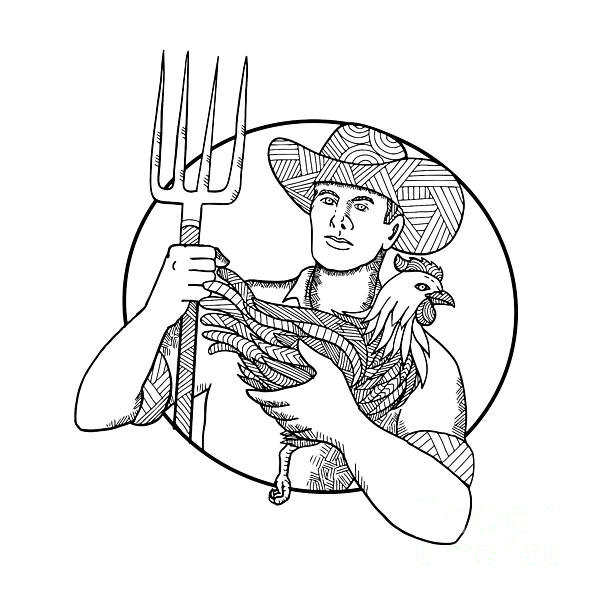 600x600 Farmer Holding Hen Pitchfork Zentagle Digital Art By Aloysius