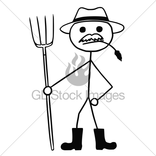 500x500 Vector Stickman Cartoon Of Farmer With Pitchfork And Hat Gl
