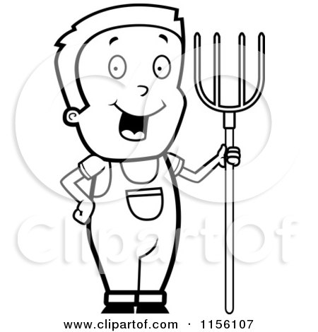 450x470 Cartoon Clipart Of A Black And White Farmer Boy With A Pitchfork