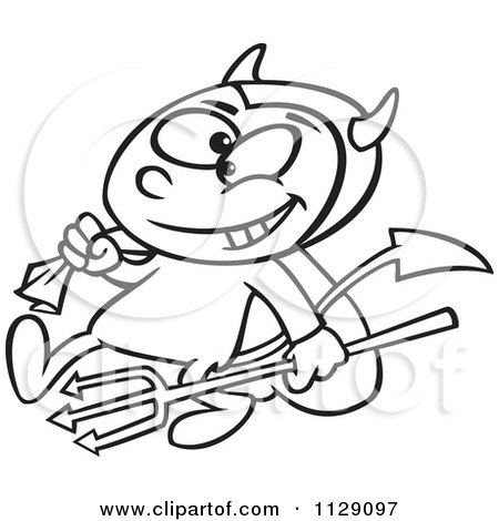450x470 Cartoon Of An Outlined Devil Boy Carrying A Sack And Pitchfork