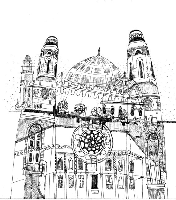 570x647 Dome Black And White Sharpie Drawing By Kirsten Lowe Rebel. Art