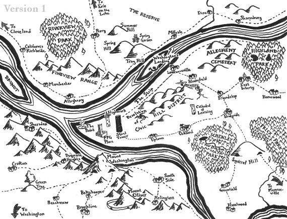 570x435 Fantasy Map Of Pittsburgh By Mapsburgh On Etsy Books Worth