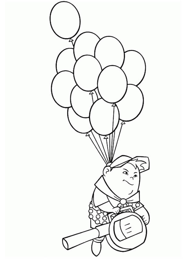600x840 Russell Flying With Baloons In Disney Up Coloring Page