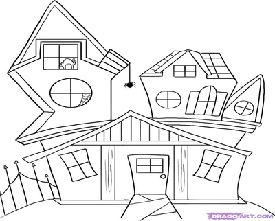 400x322 Scary Fence Coloring Cartoon House Drawings