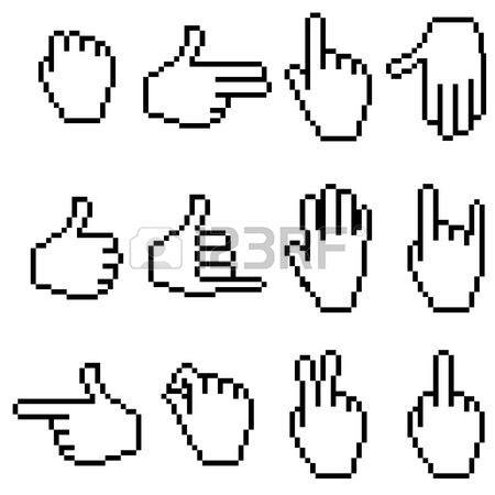 450x450 Set Of Pixel Hand Icons Royalty Free Cliparts, Vectors, And Stock