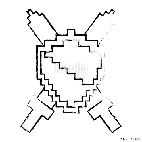 500x500 Pixelated Shield And Swords Video Game Vector Illustration Sketch