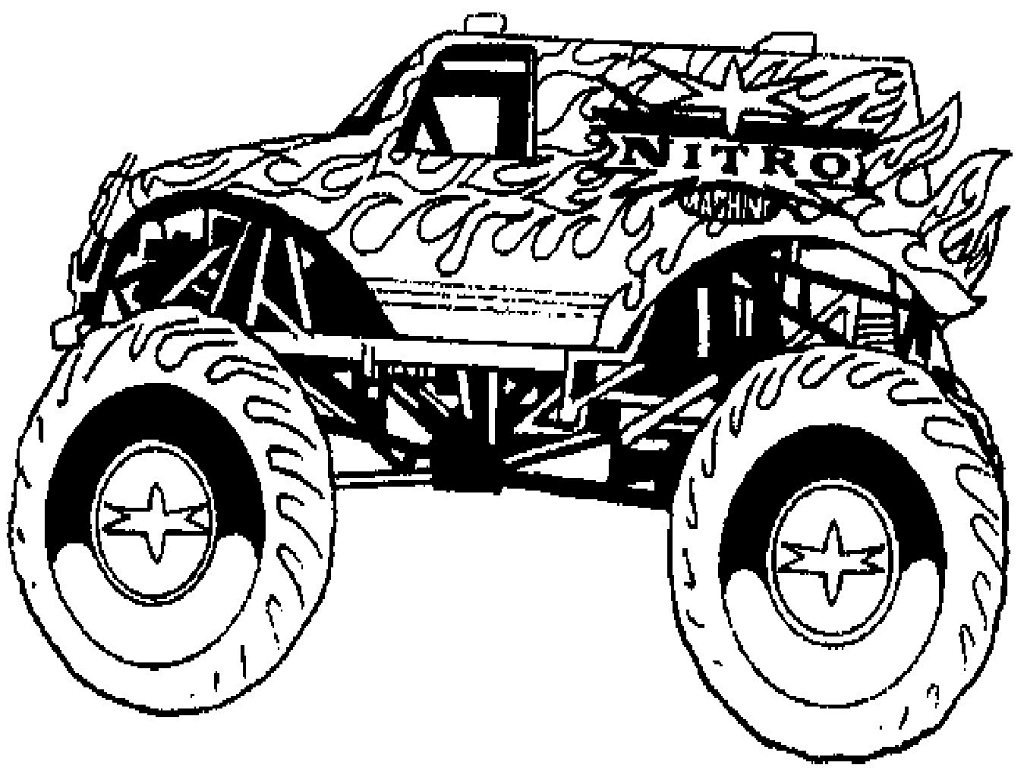 1024x768 Coloring Pages Draw A Monster Truck Monster Truck Coloring