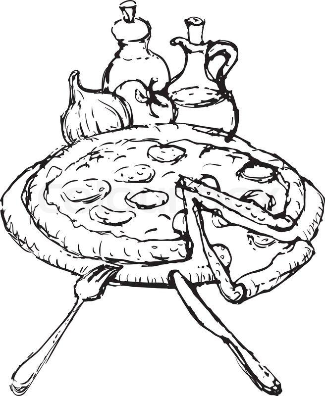 656x800 Pizza Sketch Stock Vector Colourbox