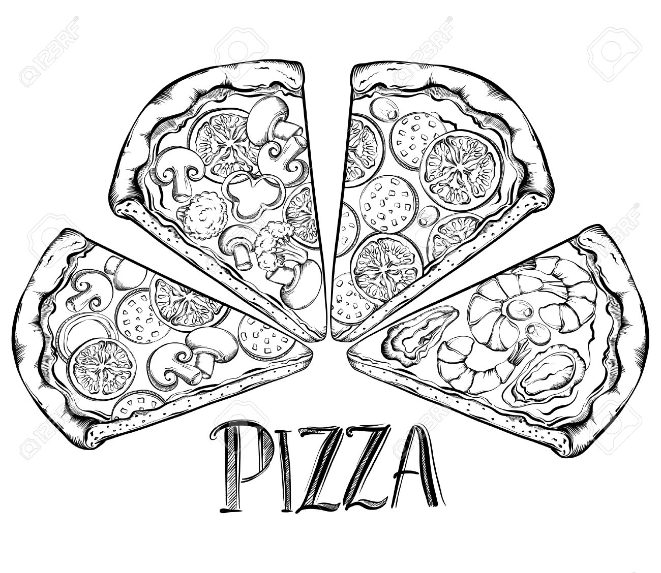 1300x1128 Poster With Hand Drawn Slice Of Pizza. Design A Menu Stylized