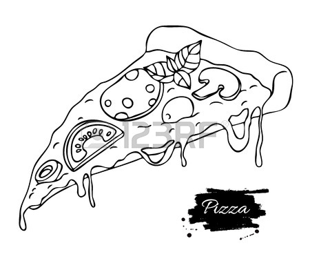 450x391 Vector Pizza Slice Drawing. Hand Drawn Doodle Pizza Illustration
