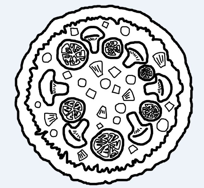 Pizza Drawing Black And White