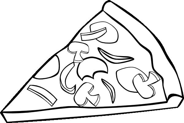 600x399 Pepperoni Pizza Slice (B And W) Clip Art