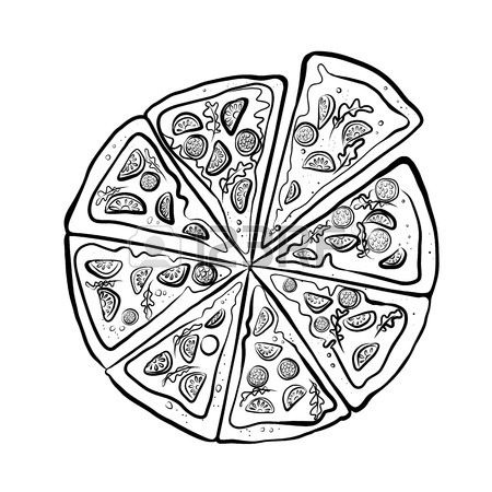 450x450 Pizza Sketch. Fast Food. Hand Drawn Illustration On White