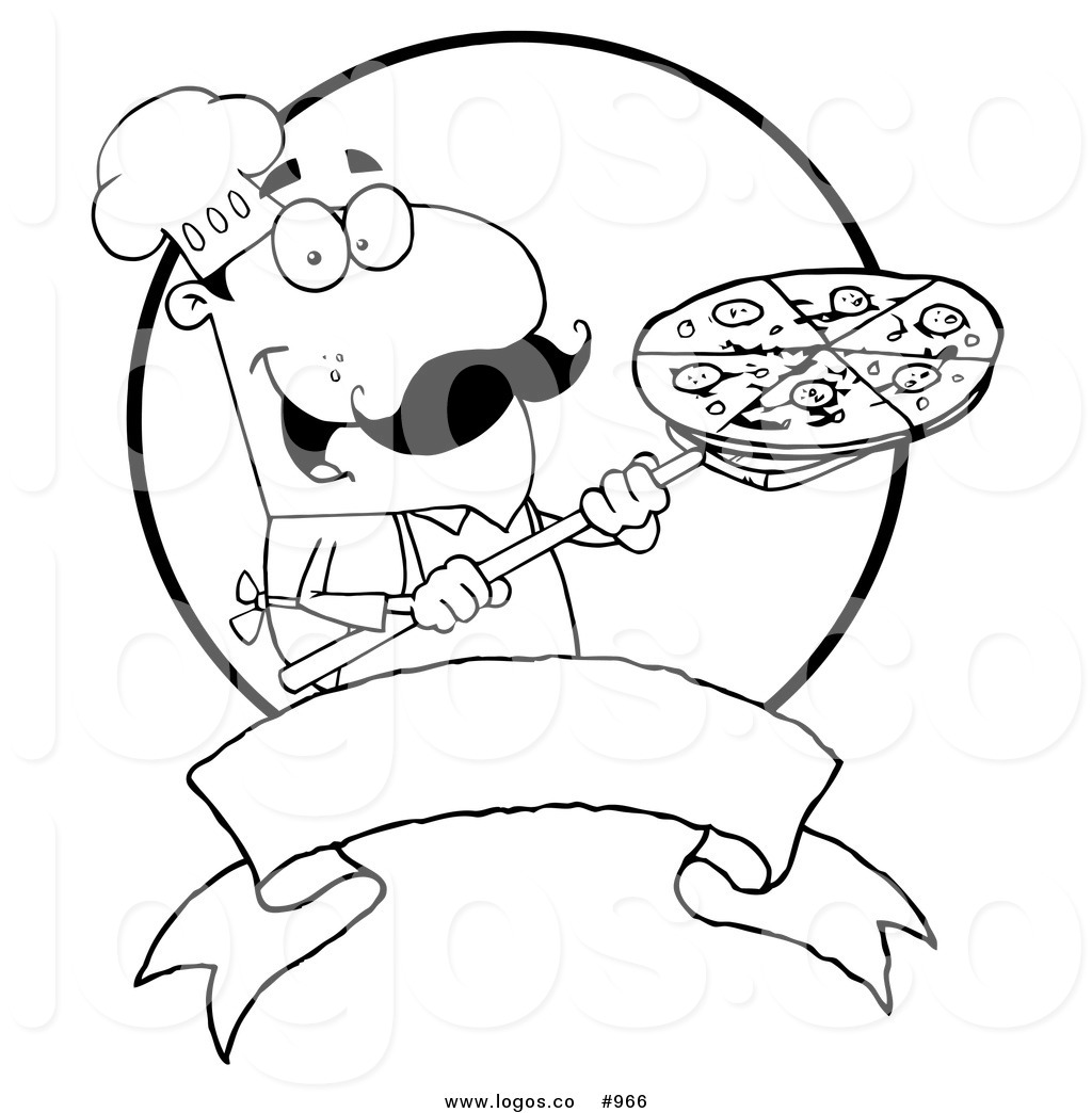 1024x1044 Royalty Free Pizza Chef Black And White Vector Logo By Hit Toon