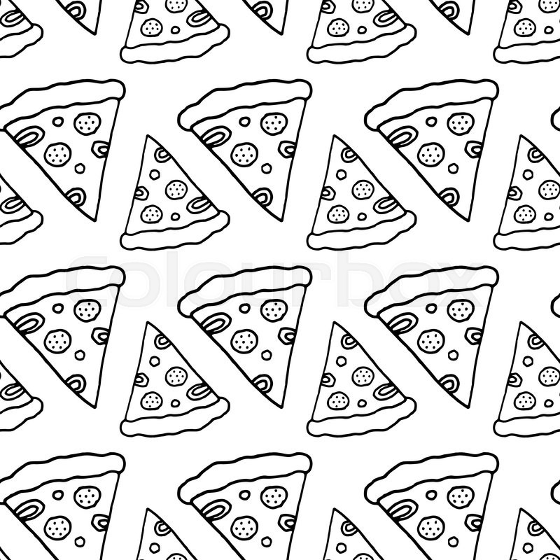 800x800 Trendy Pizza Pattern With Hand Drawn Pizza Slices. Cute Vector