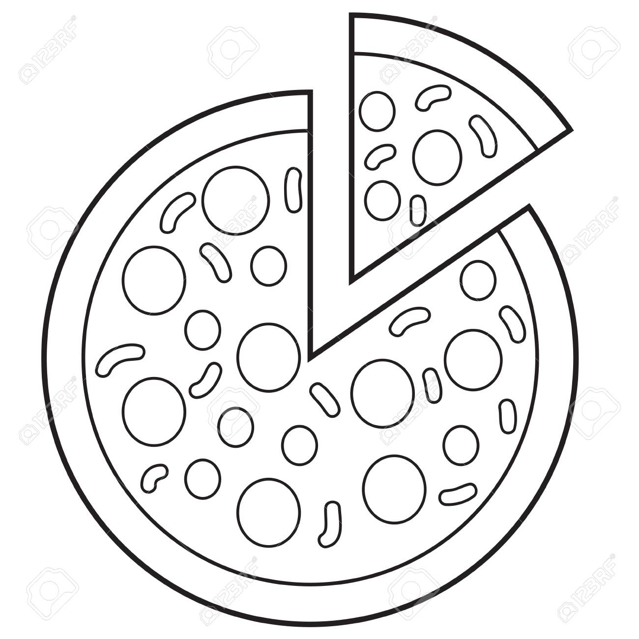 1300x1300 Vector Illustration Of Pizza In Black And White Outlined Doodle