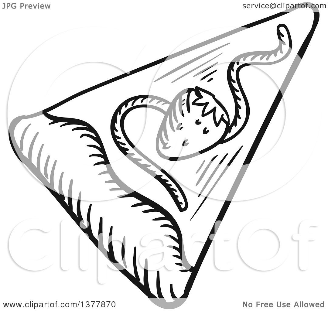 1080x1024 Clipart Of A Black And White Sketched Slice Of Dessert Pizza