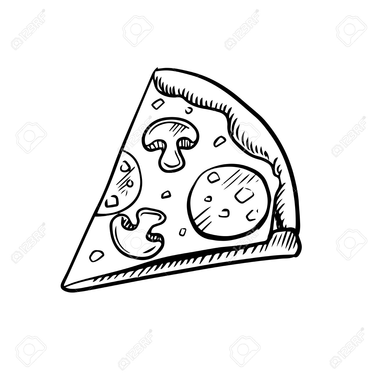 1300x1300 Black And White Slice Of Pepperoni Pizza With Mushrooms, High