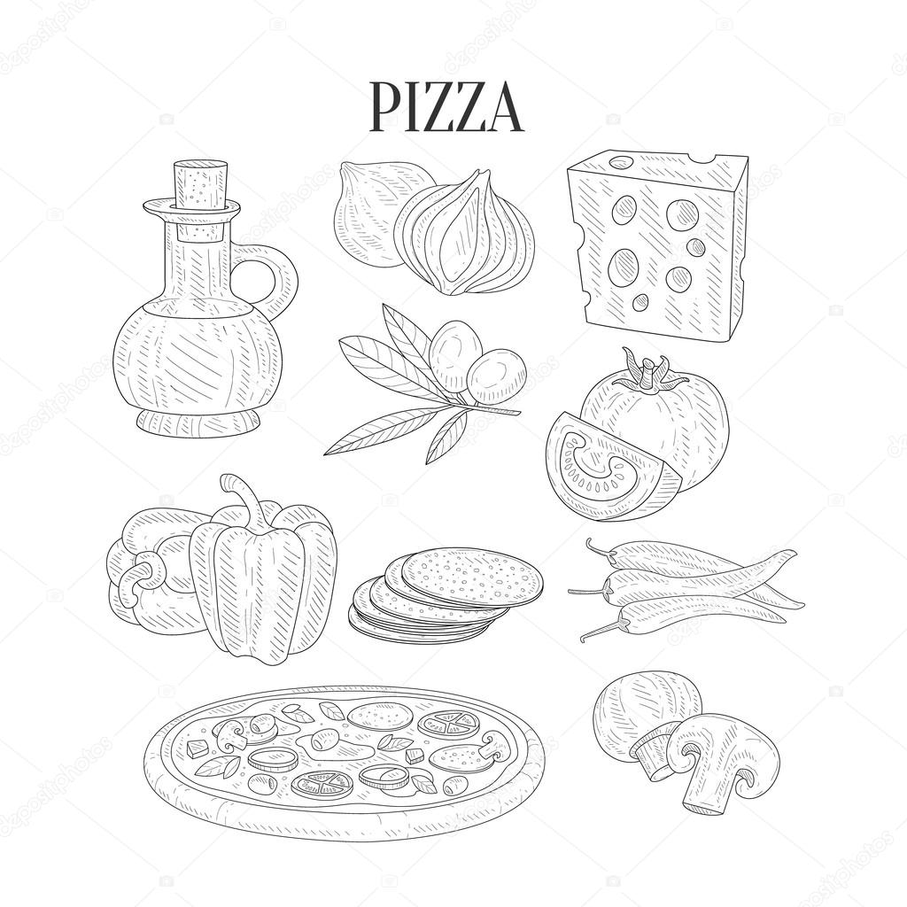 1024x1024 Pizza Ingredients Isolated Hand Drawn Realistic Sketches Stock
