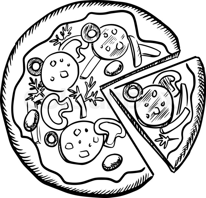 800x767 Sketch Of Fast Food Pizza With Salami, Mushrooms, Olives, Onions