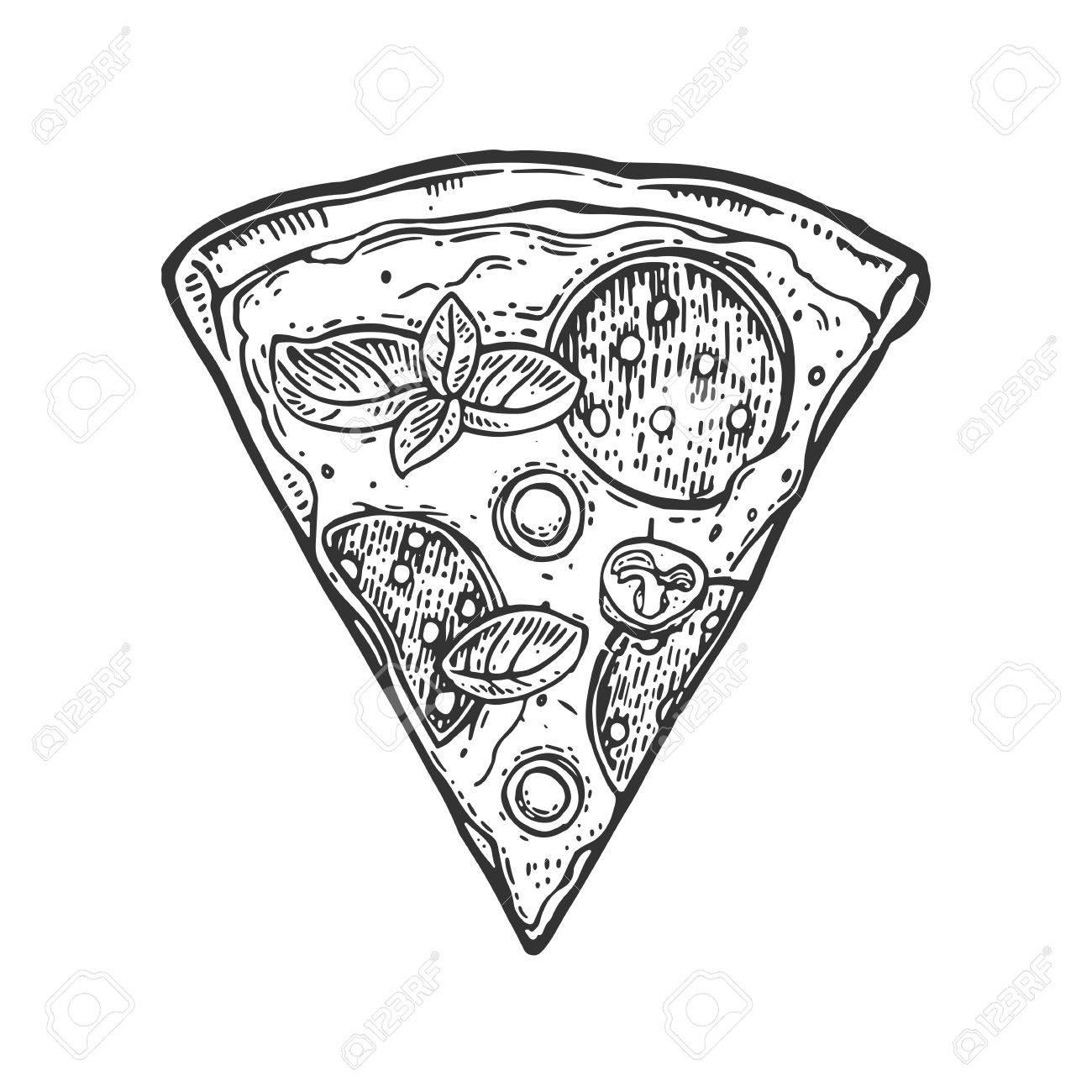1300x1300 Slice Pizza Pepperoni. Vintage Vector Drawn Engraving Illustration