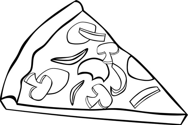 600x398 Slice Of Pizza With Mushroom Topping Junk Food Coloring Page