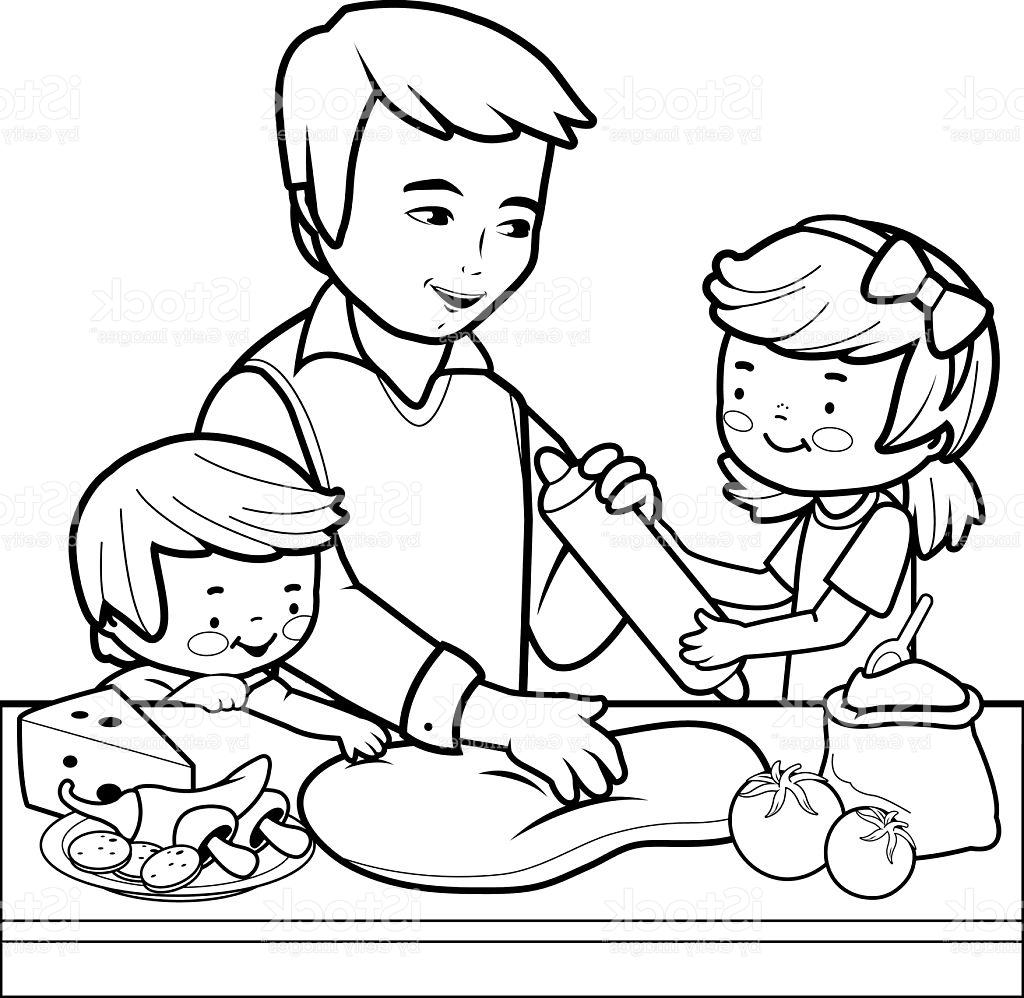 1024x998 Best Father And Children Cooking Pizza In The Kitchen Coloring